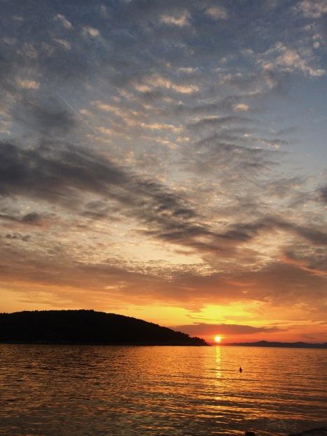 Sunset over Necujam bay, Croatia
