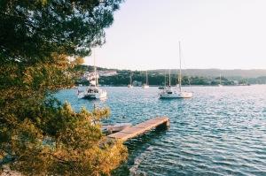 Boats moored in Necujam, Croatia
