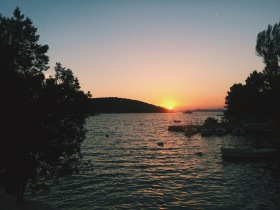Sunset over Necujam bay, Croatia