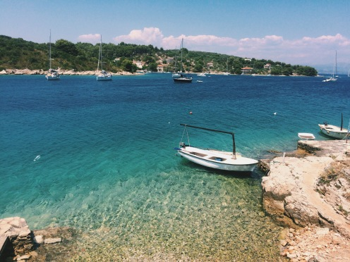 Boats bobbing in the bay, Croatia